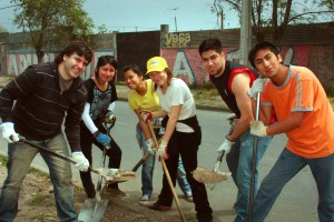 Teens from Chile Helping
