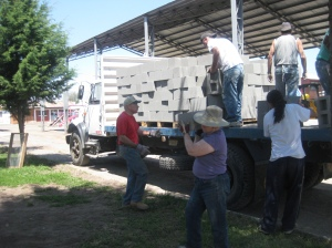 2 trucks arrived with 1,100 cinder blocks